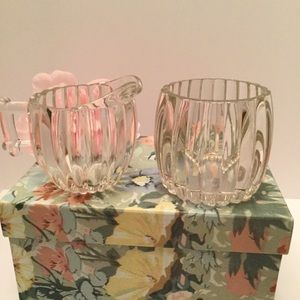 Other - 🐥Heavy Lined Glass cream/ sugar/ candle holder🌸